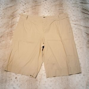 Mossimo Stretch Long Tan Mid Rise Khaki Shorts